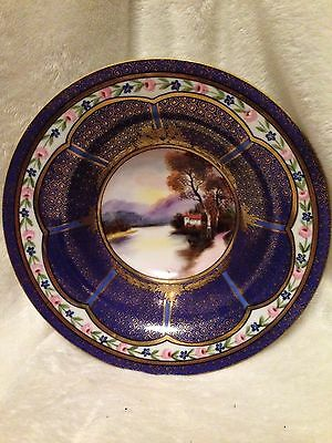 Vintage Antique OLD NORITAKE Hand Painted SCENE Bowl DARK BLUE GOLD