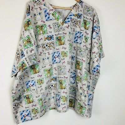 Womens Scrub Vet Tech Top S/S Pockeys Size 3X Dog Print