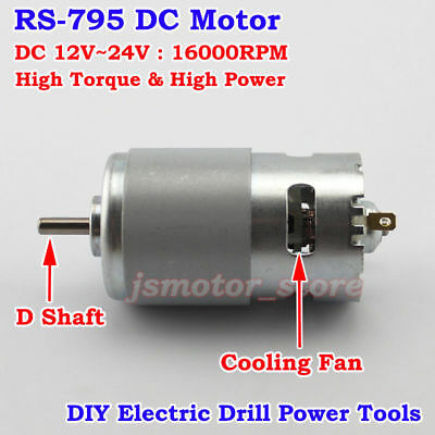 DC 12V-24V RS-795 Motor 16000RPM Large Torque High Power Low Noise Electic Drill