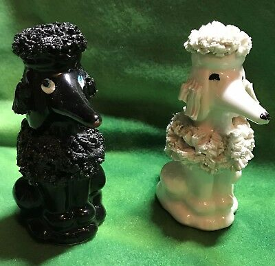 Spaghetti style Salt and Pepper Vintage Poodle Statues/Figurines