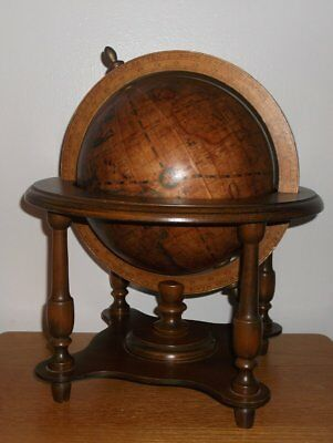 vintage olde world globe w/stand Italy zodiac spinning table top wood