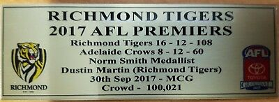 2017 Richmond Tigers Premiership Sublimation Plaque