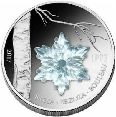 2017 WINTER BIRCH LEAF Snowflake Silver Coin.- 1000 Francs Guinea.
