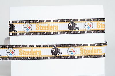 "Pittsburgh Steelers 7/8"" Grosgrain Ribbon 1,3,5,10 Yards Football Ship From Usa"