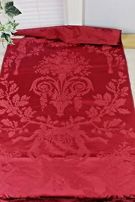 Exquisite Antique Red 18thC Silk Damask Sample Fabric c1700s~Roses & Urns