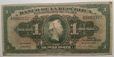 Colombia peso 1932 banknote world paper money rare portrait signature