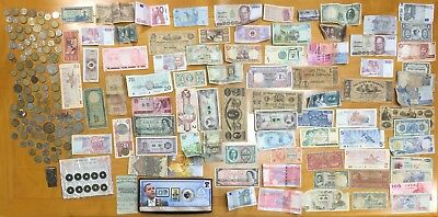 JUNK DRAWER Lot Foreign Coins Paper Money Casino Chips Stamps