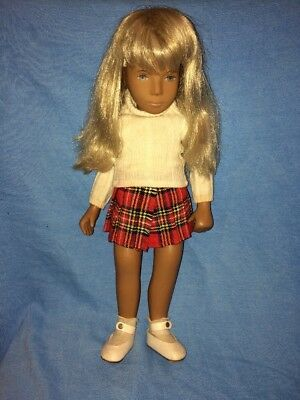 "Vintage Sasha Gingham 16"" Doll---Blonde Hair---Red Plaid Skirt & White Sweater"