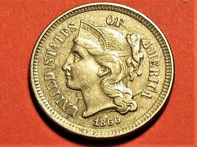 1866 Three Cent Piece Nickel      XF     Free Shipping  !