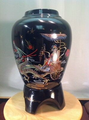 Vintage Very Rare Creek Turn Pottery Footed Ceramic Black Asian Style Vase USA