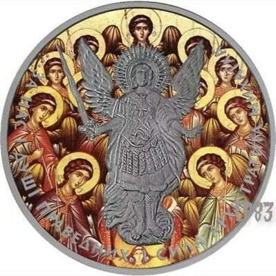 2015 1 Oz Silver ARCHANGEL MICHAEL SYNAXIS Antique Finish Coin..