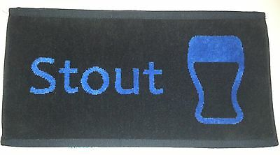 NEW - Pub/Bar Towel - Beer - Stout - Blue on Black