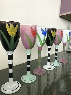Kosta Boda Hand Painted Wine Glasses Signed By Ulrica Hydman Set Of 6