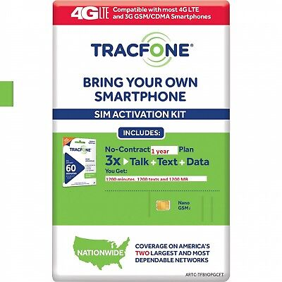 Preload Tracfone Nano/Dual Sim Card with 1 Year 1200min,1200Text,1200MB included