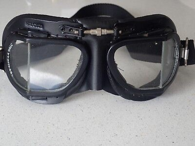 Halcyon MK410 Vintage Motorcycle Flying Goggles Deluxe Cafe Racer Aviator Goggle