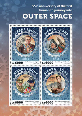Sierra Leone 2016 MNH Yuri Gagarin 1st Human Into Outer Space 4v M/S Stamps