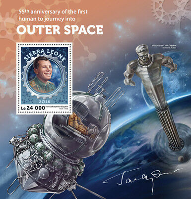 Sierra Leone 2016 MNH Yuri Gagarin 1st Human Into Outer Space 1v S/S Stamps