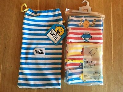 Brand New Marks & Spencers Boys Short Sleeve Mr Men Baby Bodysuits/vests Newborn