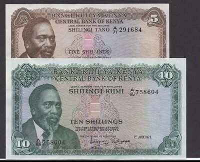 Kenya  5/- & 10/-  1.7.1972 &1.7.1973  P 6c & P 7d  Circulated Banknotes