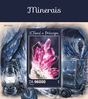 Sao Tome & Principe 2016 MNH Minerals Amethyst 1v S/S Stamps