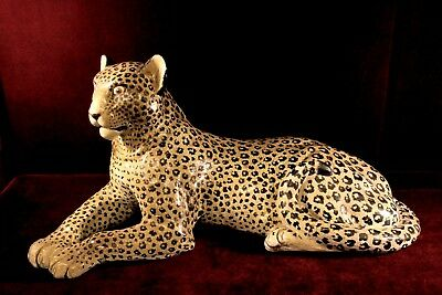 Mid Century Leopard Figurine Life Size Cat Made In Italy