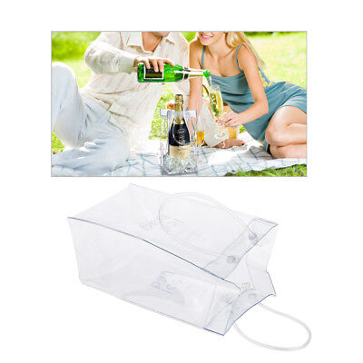Clear Transparent Champagne Wine Ice Bag Pouch Cooler Bag Chiller with Handle