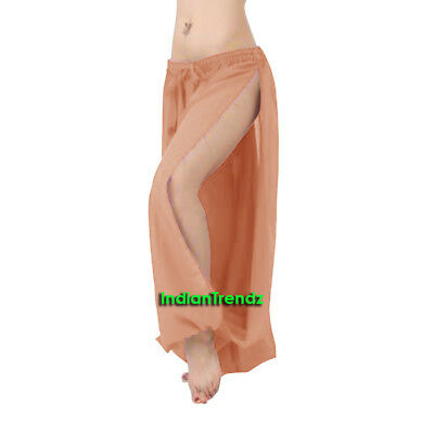 Coral Chiffon Both Leg Slit Harem Yoga Pant Belly Dance Pantaloons Halloween