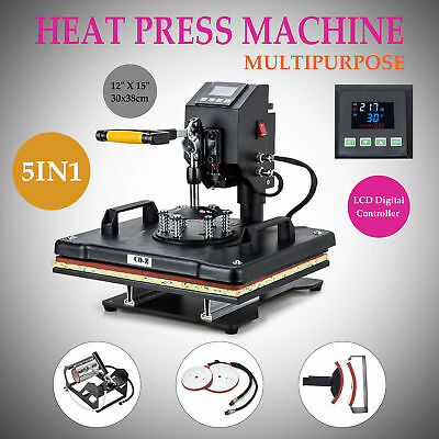 """12"""" X 15"""" 5 in 1 T Shirt Heat Press Machine for Mug Hat Plate Cap Mouse Pad"""