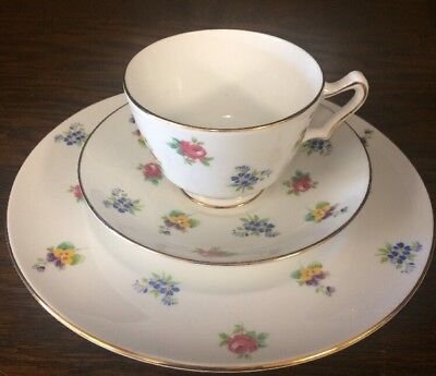 Crown Staffordshire England 3 Pc. Floral Tea Cup Plate Saucer Pansy Rose