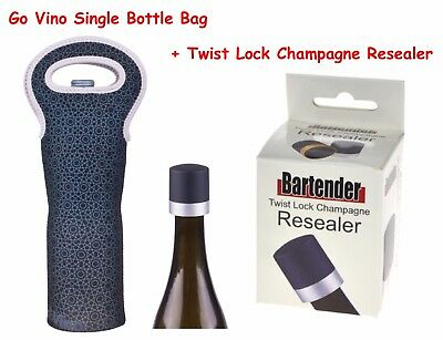 Go Vino Single Bottle Bag Wine Bag Twist Lock Champagne Resealer