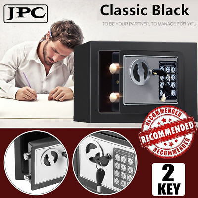 Keypad Lock Water & Fireproof Safe Box with Key for Home Office Hotel Security