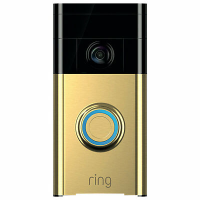 Ring Smart Video Doorbell with Built-in Wi-Fi & Camera, Polished Brass BNIB
