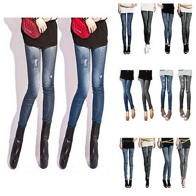 Women Stretchy Winter Thick Leggings Jegging tattoo jeans look One Size Fit 6-12