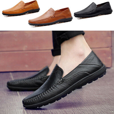Men's Driving Moccasins Loafers Casual Boat Shoes Leather Flat Shoes Slip On