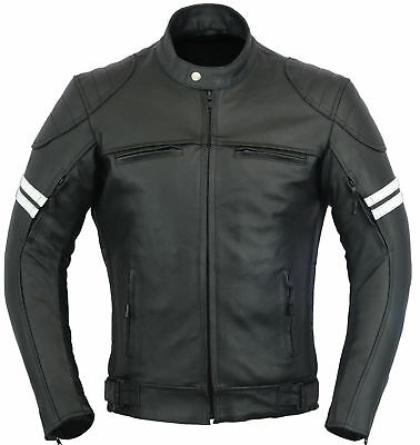 Mens Premium Quality Ce Armour Motorcycle Motorbike Cow Leather Jacket Plus Size