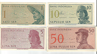 4 old paper notes Indonesia UNC nice & crisp