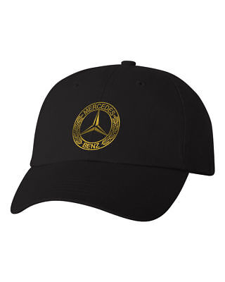f96fcb4be8649 Mercedes Benz Logo Custom Unstructured Dad Hat Baseball Cap New - Black w   Gold
