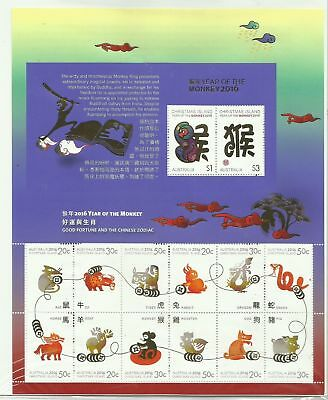 CHRISTMAS ISLAND 2016 Year Of The Monkey  LUNAR NEW YEAR Sheetlet (MNH)