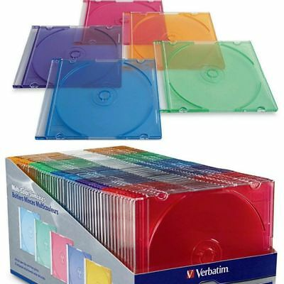 Assorted Colors Verbatim 50 pack Slim DVD CD Storage Cases Plastic Jewel travel