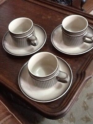 Denby Sonnet Cups And Saucers X3