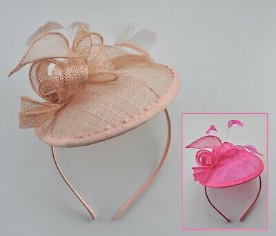 Salmon nude/cerise neon shocking pink round sinamay feather fascinator/hatinator