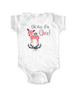 Oh deer I'm ONE - cool boho First 1st Birthday Shirt Age 1 One year Shirt