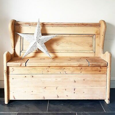 Farmhouse RECLAIMED Rustic Victorian PINE Monks Bench Settle