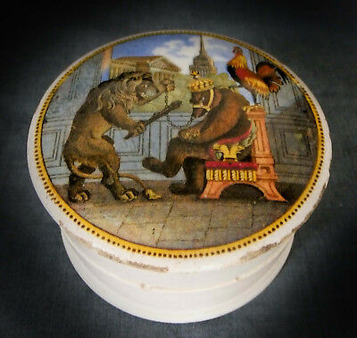FINE 19th. CENTURY PRATTWARE CRIMEAN WAR POT LID - THE BEAR, LION & COCK