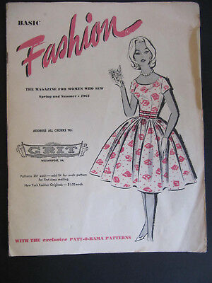 Vtg 1961 GRIT Basic Fashion Sewing Pattern Catalog Magazine