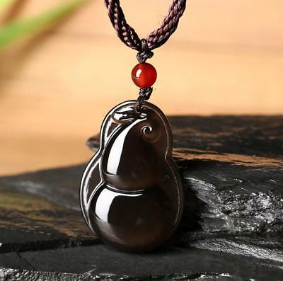 100% Natural Ice Obsidian Carved Chinese Lucky gourd Pendant +free Necklace