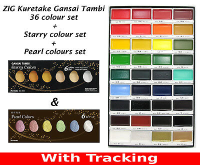 ZIG Kuretake Gansai Tambi 36 colour & Starry Colors & Pearl Colors sets