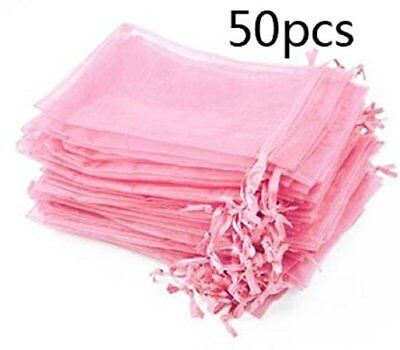 Pack of 50 Pink color Organza Drawstring Gift Bag Pouch Wrap for