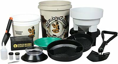 Gold Rush Nugget Bucket - Deluxe Gold Panning Kit With Metal Folding Shovel