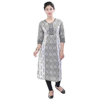 White Indian Pakistani  Kurta Kurti Party Designer Dress Women Tunic